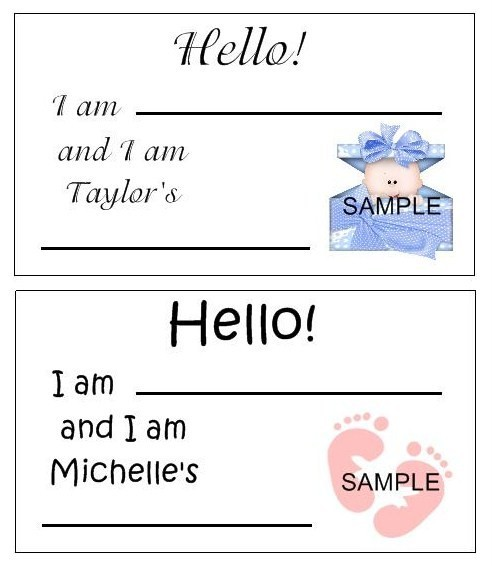 details about baby shower name tags favor labels personalized 200 des