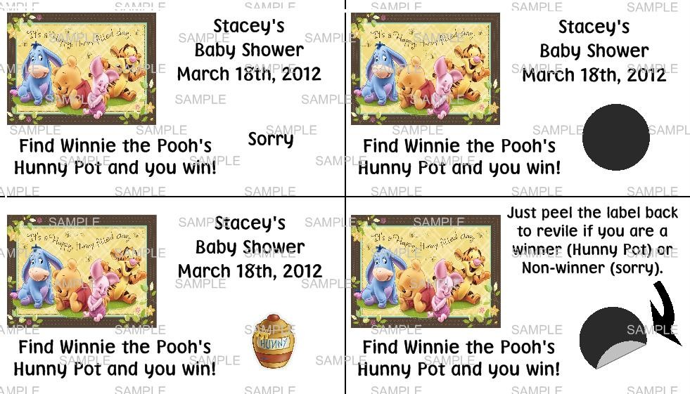 New Winnie The Pooh Baby Shower Birthday Party Favor Games Labels Personalized