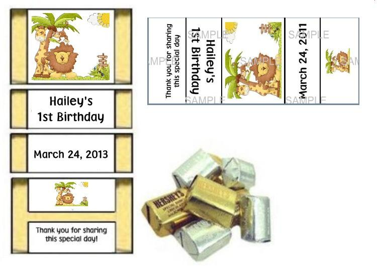 Jungle Safari Monkey Baby Shower Birthday Party Favor Games Labels Personalized