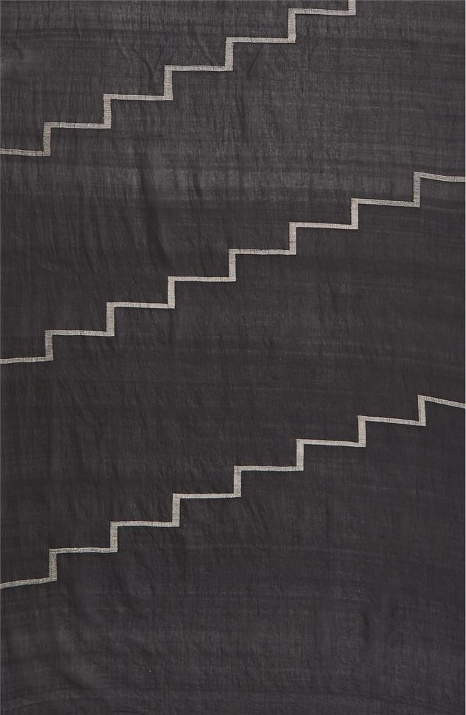NWT-158-EILEEN-FISHER-Handloomed-Cotton-Silk-Jamdani-Steps-Scarf-BLACK-80X29