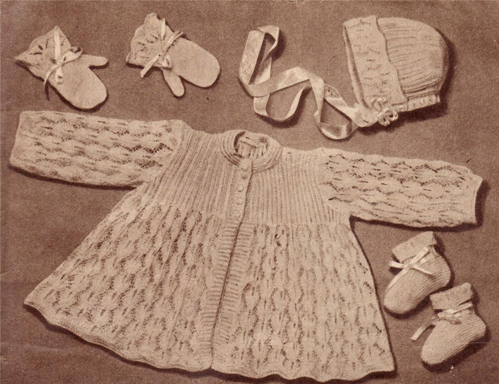 Knitting Patterns For Baby Layettes : VINTAGE LACY LAYETTE SET- 2ply - baby knitting pattern eBay