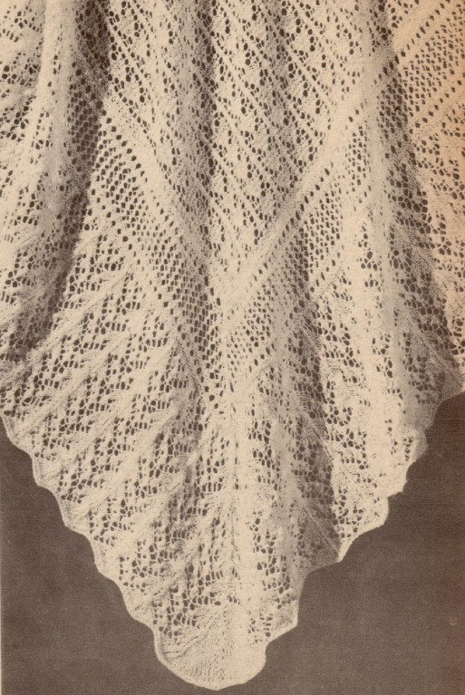Vintage Shawl Knitting Patterns : VINTAGE SHAWL / FAIRY WEB - 2ply - baby knitting pattern
