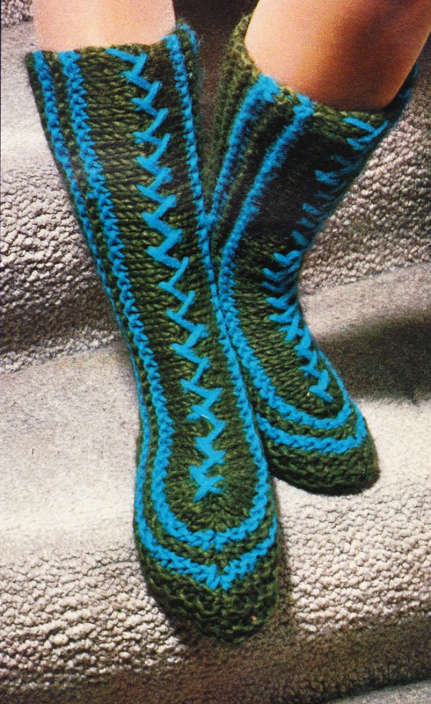 Free Knitting Patterns For Slippers And Socks : QUICK KNIT HOUSE SOCKS SLIPPERS sock knitting pattern eBay