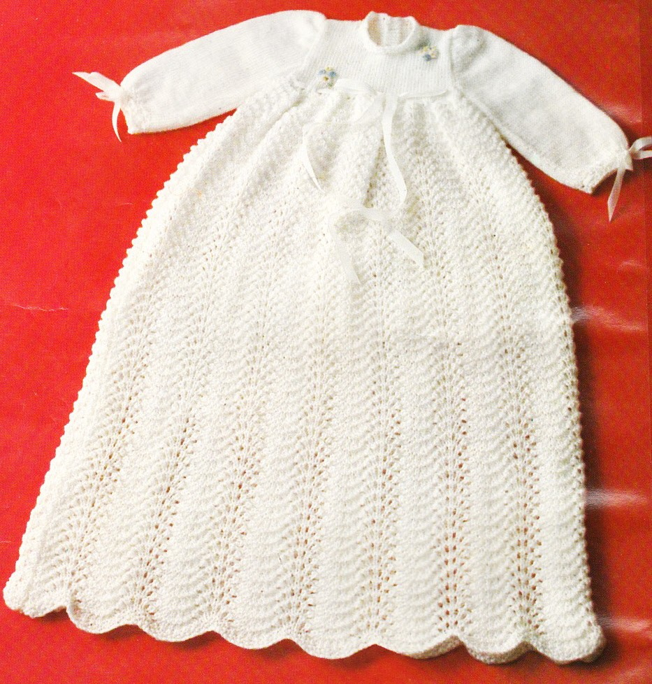CHRISTENING DRESS 3 sizes / 3ply - knitting pattern eBay