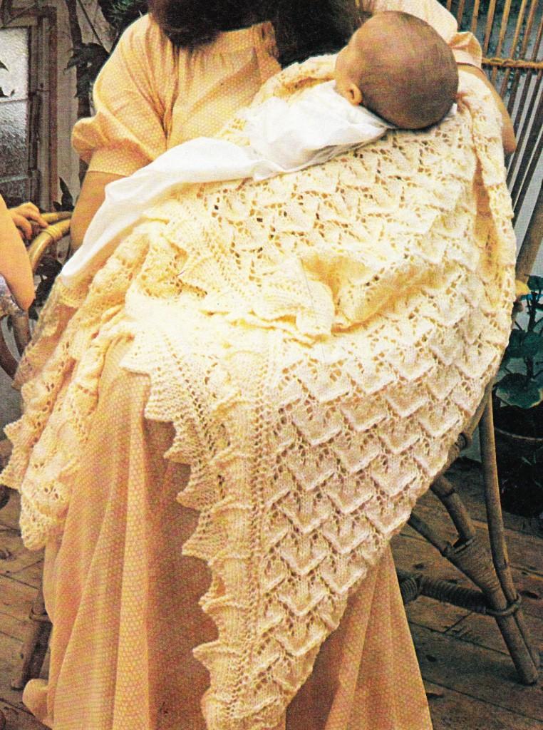 HEIRLOOM LACY SHAWL 117cm square 4ply baby knitting pattern eBay