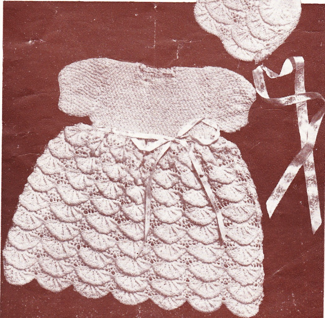 Knitting Patterns Baby Frocks : VINTAGE SHELL FROCK BONNET 3ply baby knitting pattern eBay
