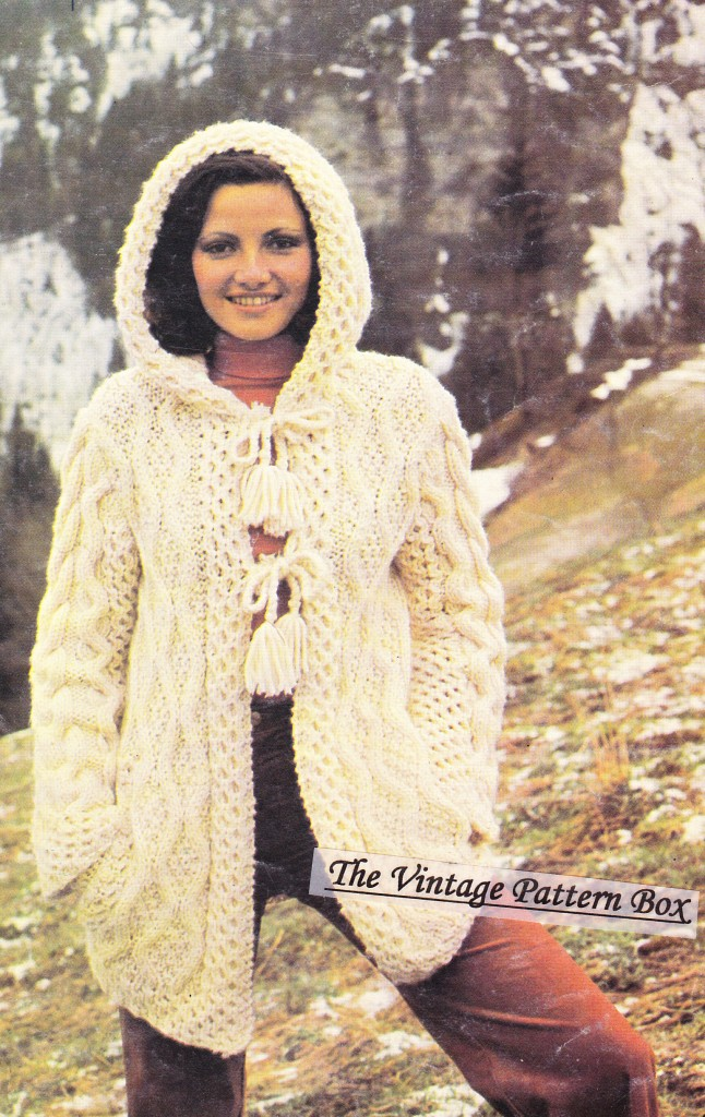 Knitting Pattern Hooded Jacket : ARAN HOODED JACKET - Ladies knitting pattern eBay