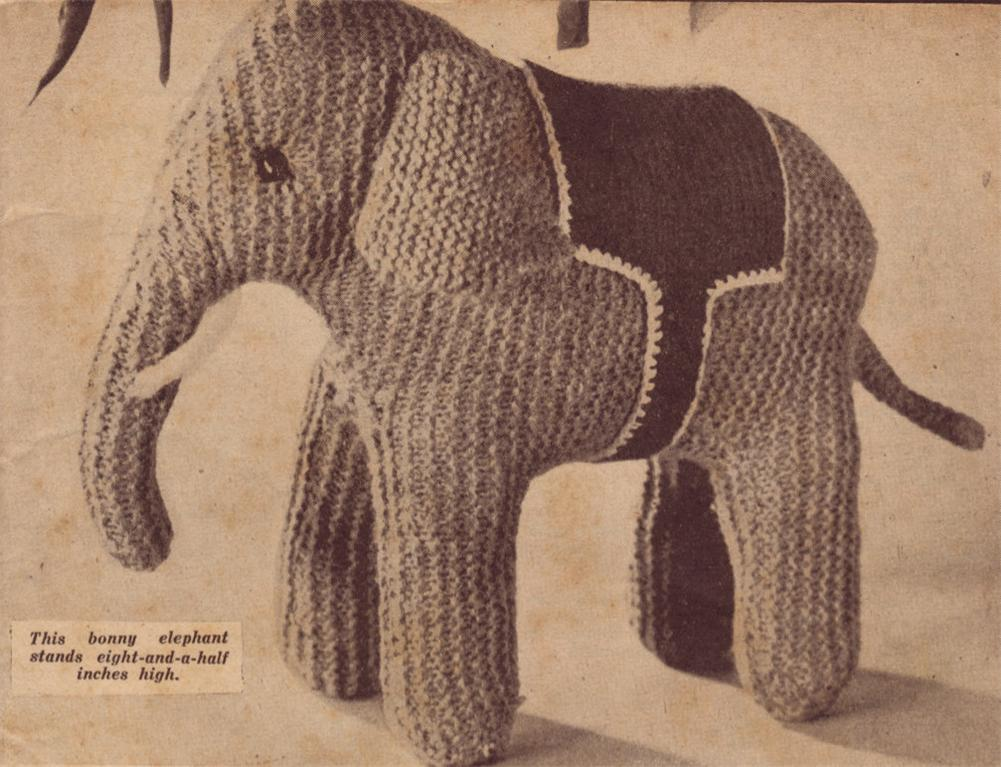 Elephant Knitting Pattern : 1940s Elephant - toy knitting pattern eBay