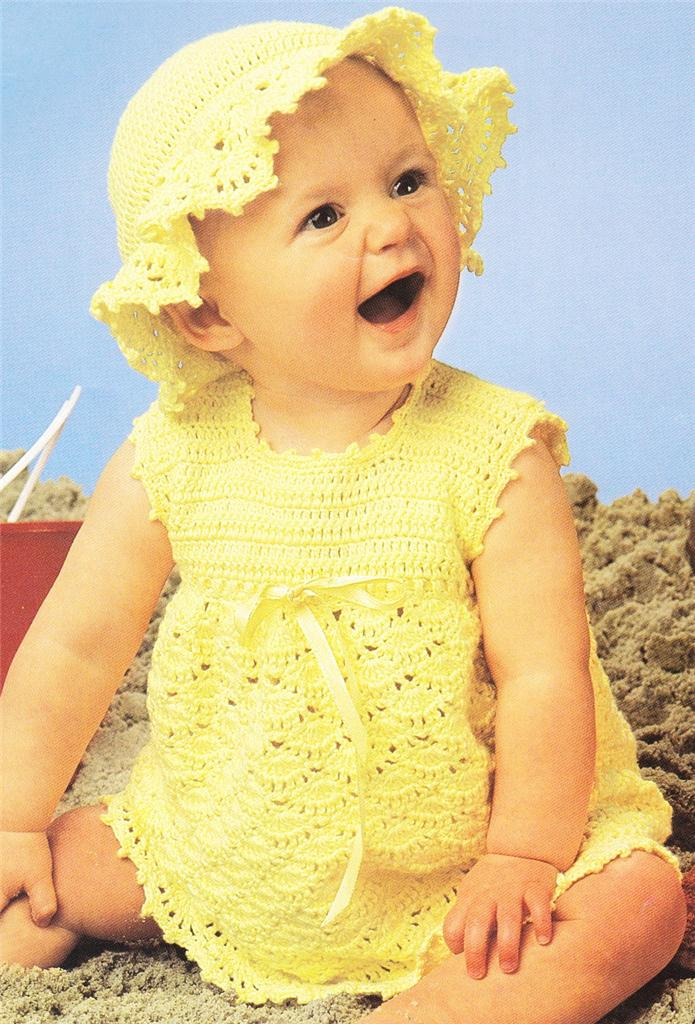 Crochet Hat Pattern For 8 Month Old : SUN DRESS HAT size 3 6 12 months Baby cotton crochet ...