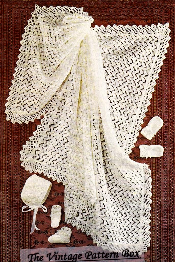Knitting Pattern For Lacy Baby Shawl : LACY SHAWL JACKET BOOTEES 4ply baby knitting pattern eBay