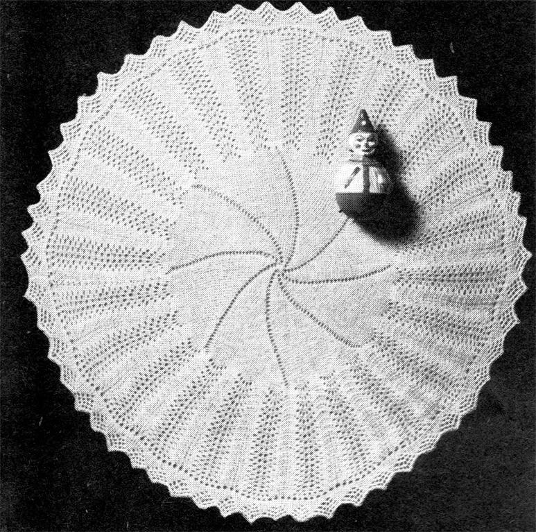 Knitting Pattern For Round Baby Shawl : VINTAGE SHAWL ROUND - baby knitting pattern eBay