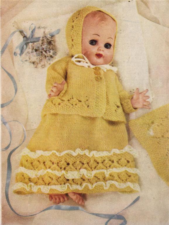 Knitting Pattern For Dolls Shawl : BABY DOLL LAYETTE 14