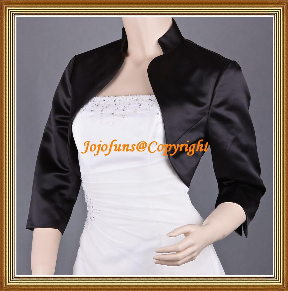 Black-Satin-Wedding-3-4-Sleeve-Shrug-Prom-Bolero-Capelet-Coat-Jacket-Cover-Up