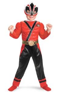 Boys Power Rangers Samurai Muscle Gold Red Ranger Costume Size 2T 3 4T