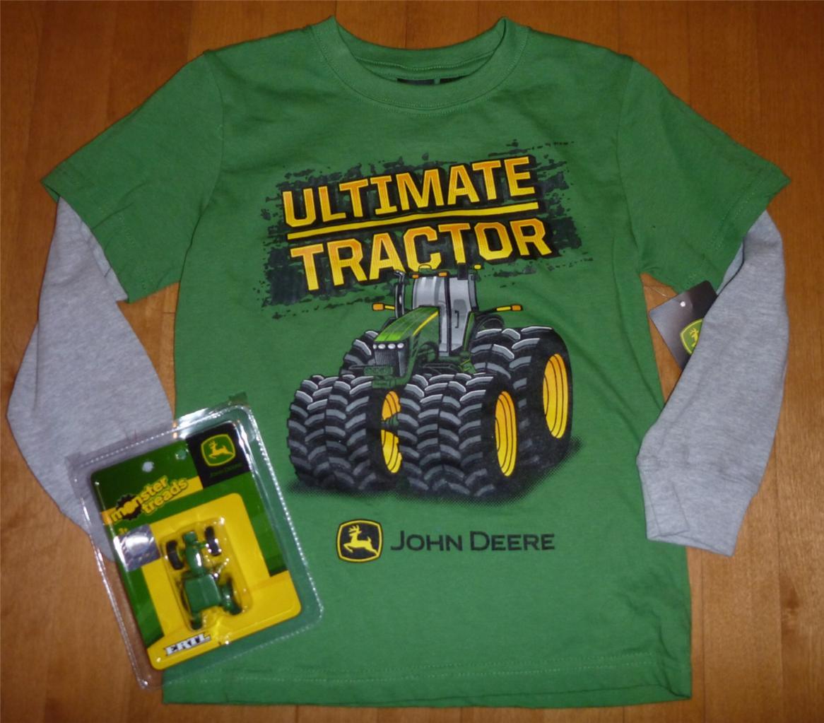 Nwt boys john deere long sleeved t shirt dirt zone size 4 for John deere shirts for kids