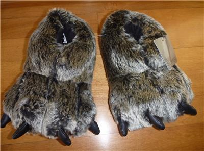 Boys Girls BEAR CLAW Stuffed Plush Slippers Size S/M 11/12 ...