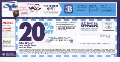 2 bed bath beyond 20 off coupon expire 9 23 2013 ebay. Black Bedroom Furniture Sets. Home Design Ideas
