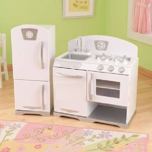 Vintage Kitchen By Kidkraft: NEW KidKraft 2pc. Retro Kitchen - White
