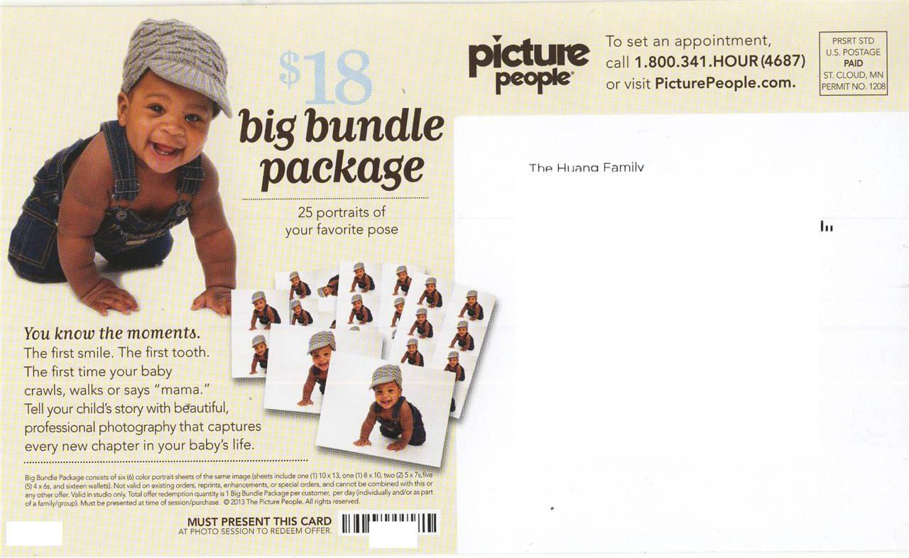 Picture People Instore Printable Coupon – 15% off Purchase Picture People is offering in studios using this instore printable coupon. Can be applied to color portrait sheets 10x15 or smaller, in studio photo cards, personalized gifts etc.