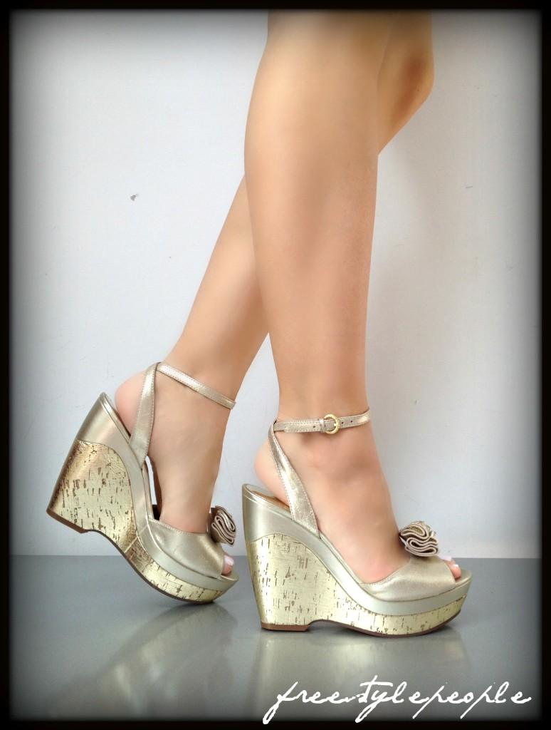NIB-New-GUESS-Gold-JAHNAY-w-Ankle-Strap-Cork-Platform-Pumps-Sandals-Shoes-Heels