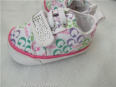 Details about NEW PINK GUESS BABY GIRLS SHOES SIZE 0 WHITE BABY GUESS