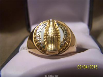 Coca Cola 10k Gold 6 Diamond Ring 30 Years Service