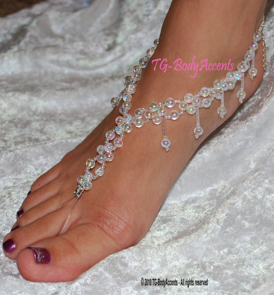 barefoot sandals foot jewelry wedding anklets clear