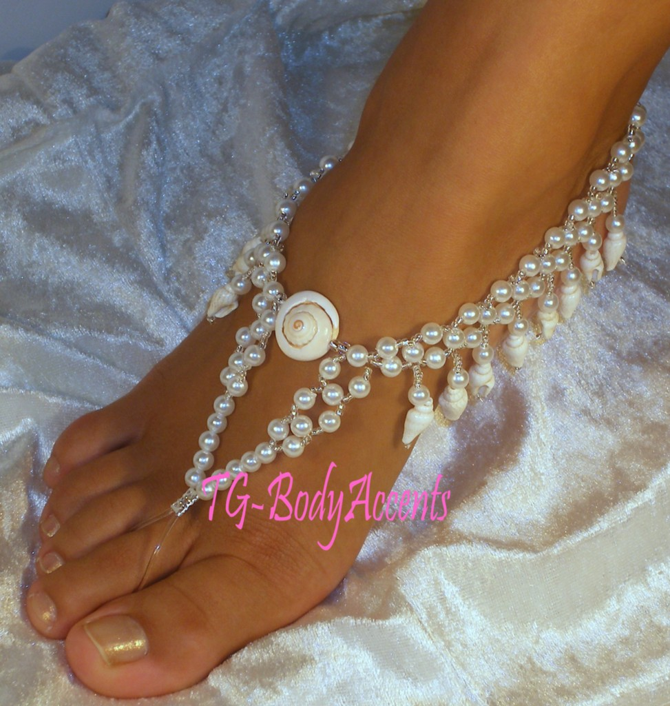 Barefoot-Sandals-Foot-Jewelry-Wedding-Dangling-Shells-Pearls-2pc