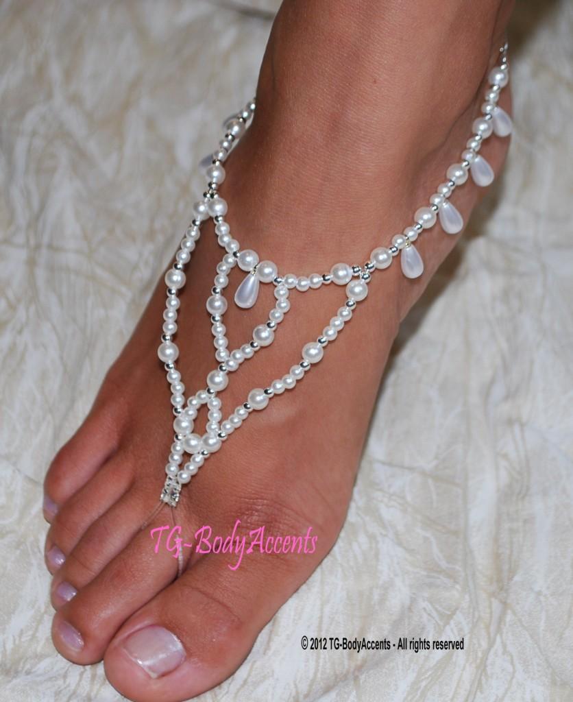 barefoot sandals foot jewelry wedding teardrops