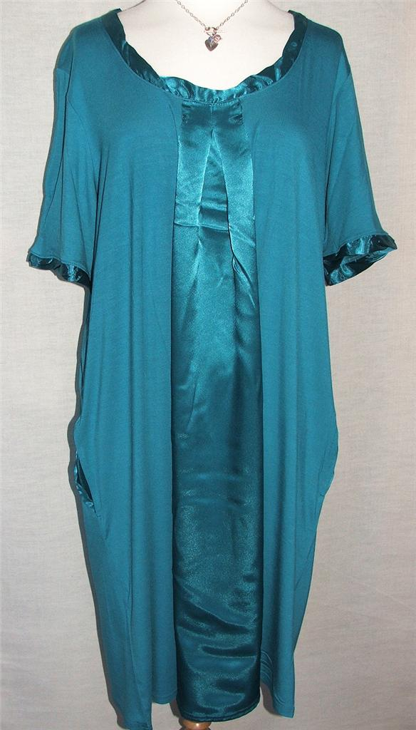 ANN-HARVEY-Teal-Scoop-Neck-Satin-Twist-Mumu-Tunic-Dress-SIZES-18-to-32-NEW