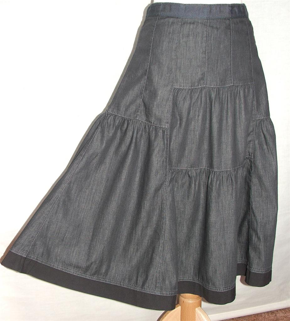 ex per una marks spencer grey denim style tiered skirt uk