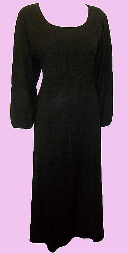 EAONPLUS-Long-BLACK-Soft-Rayon-Boho-Hippy-Dress-SIZES-UK-14-16-to-34-36-NEW