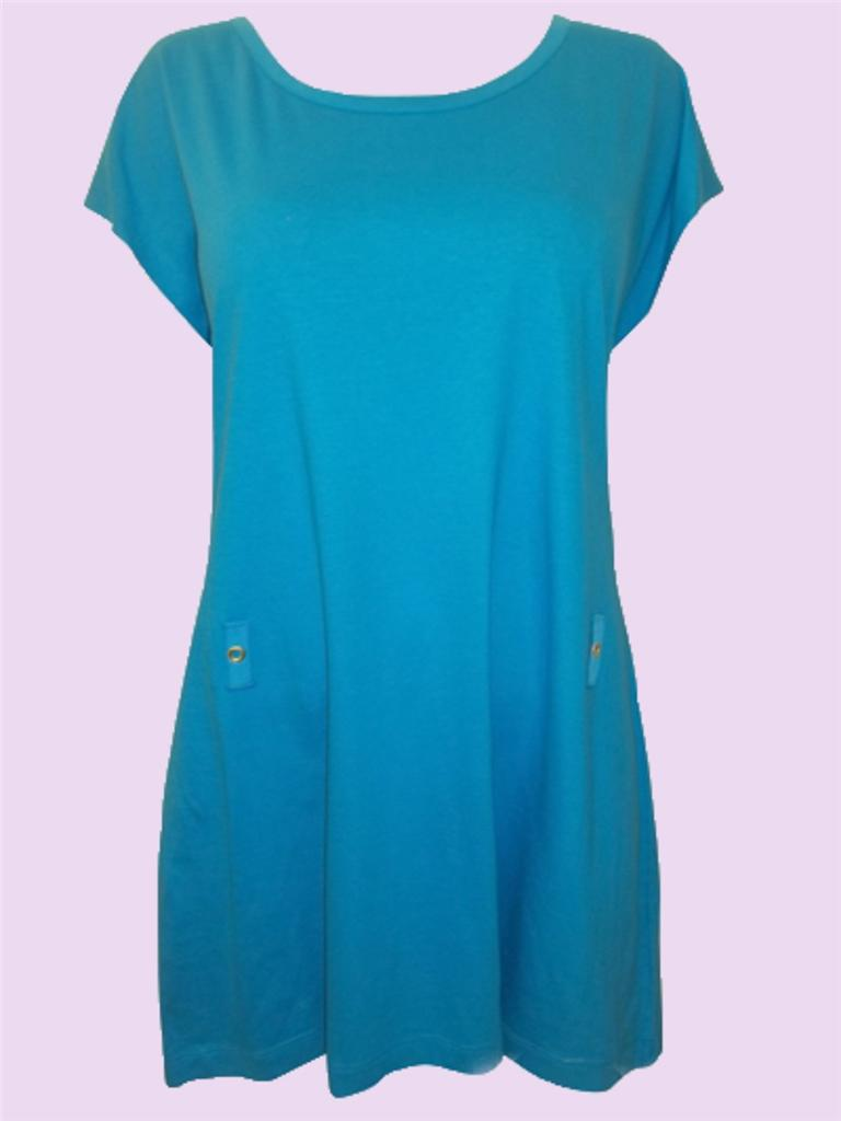 SPECIAL-OFFER-Ex-M-S-Turquoise-Cotton-Scoop-Neck-Dress-Size-8-to-14-NEW-F-S