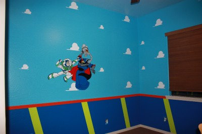 Buzz zurg handpainted wallpaper mural toy story ebay for Buzz lightyear wall mural