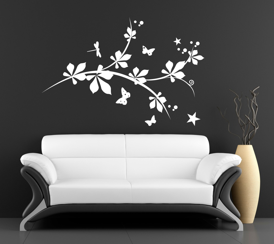 Wall Art Vinyl Decal Sticker Transfer Tree Dragonfly