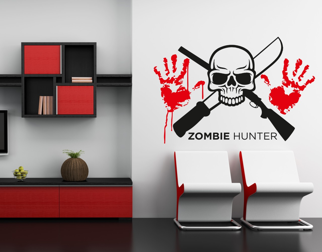 Wall art sticker transfer bedroom teenage rock metal alternative zombie hunter ebay - Teenage wall art ideas ...
