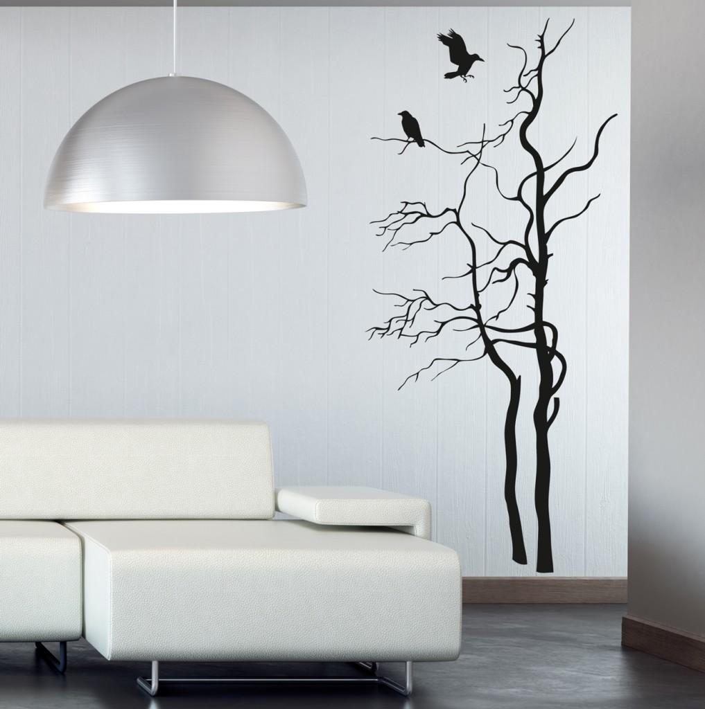 Wall Art Transfer Stickers : Wall art vinyl sticker transfer bedroom crows in tree
