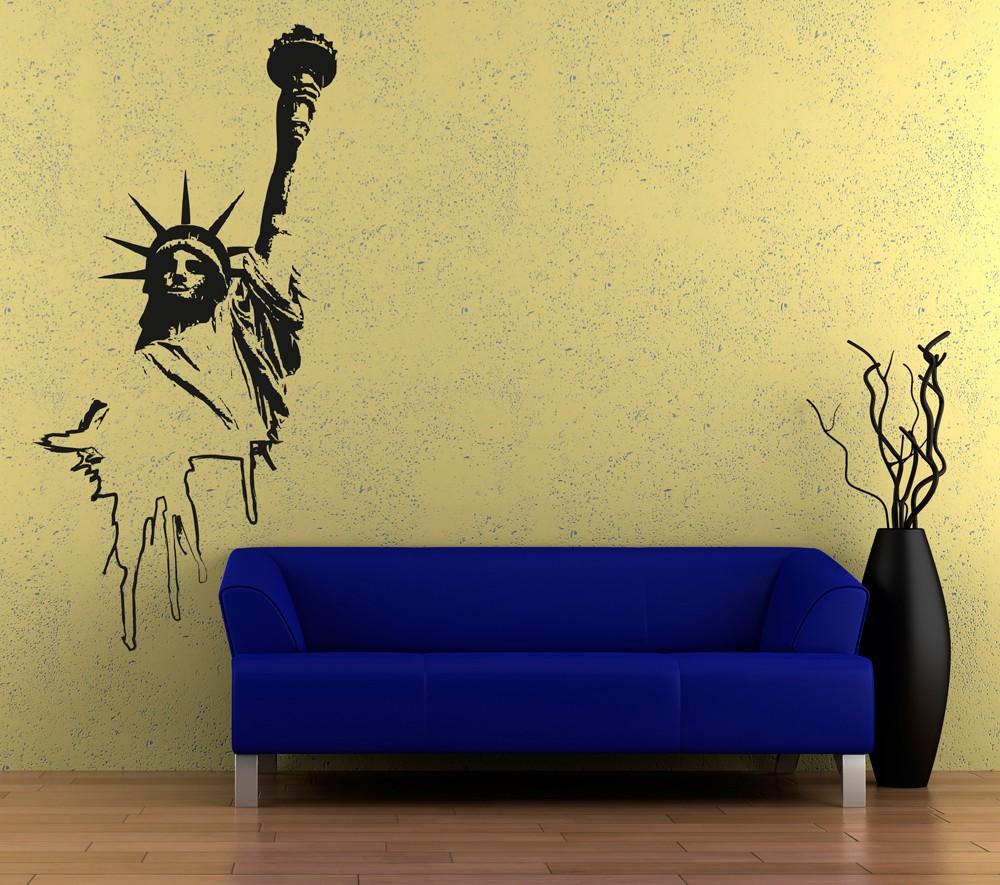 Wall Art Transfer Stickers : Wall art sticker transfer bedroom lounge statue of liberty