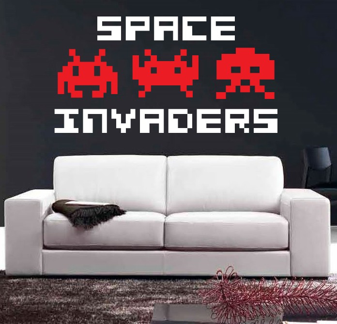 Wall art sticker decal vinyl space invaders 80 39 s arcade game atari 3 sizes ebay - Space invader wall stickers ...
