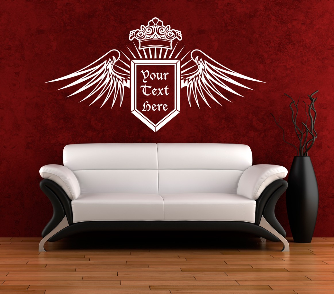 Wall-Art-sticker-decal-vinyl-Crown-Wings-Shield-Text-Logo-Crest-3-Sizes