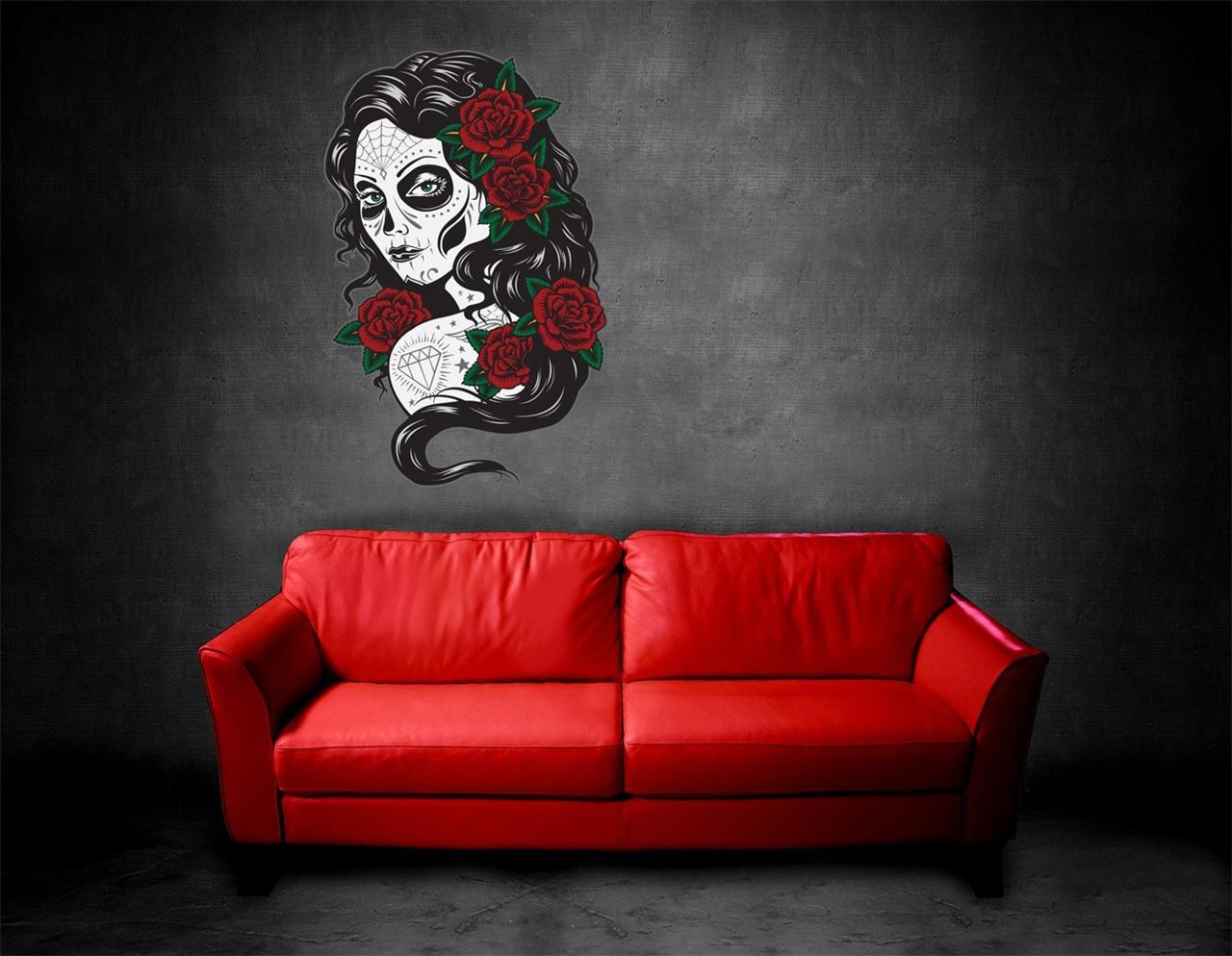 Http Ebay Com Itm Wall Art Sticker Decal Tattoo Day Of The Dead Sugar Skull Woman Halloween 120998201574