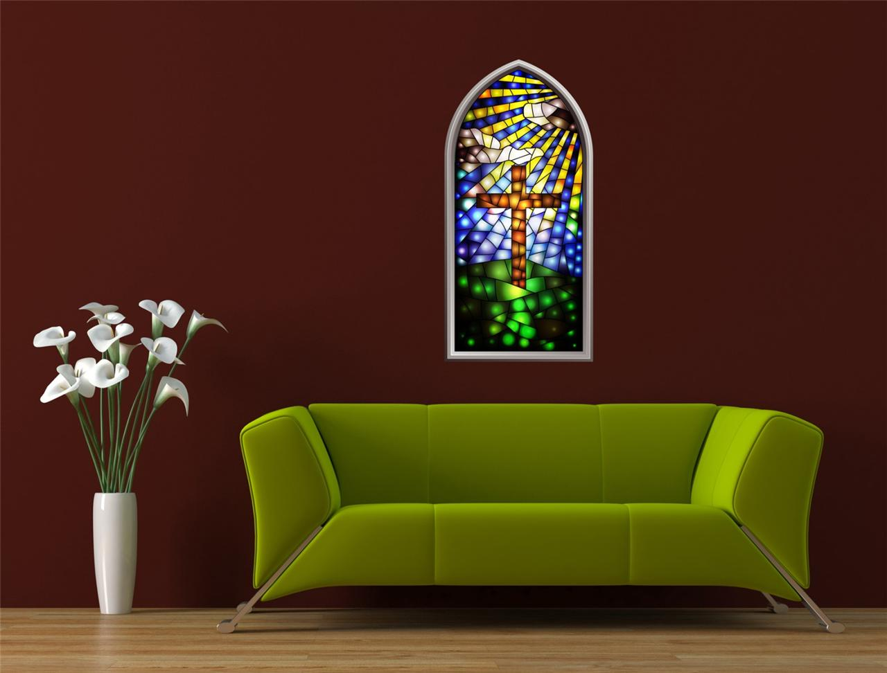 Wall Art Sticker Full Colour Stained Glass Window