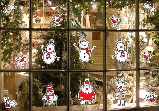 Christmas-Xmas-re-usable-window-sticker-cling-display-set-Snowman-Santa-Holly
