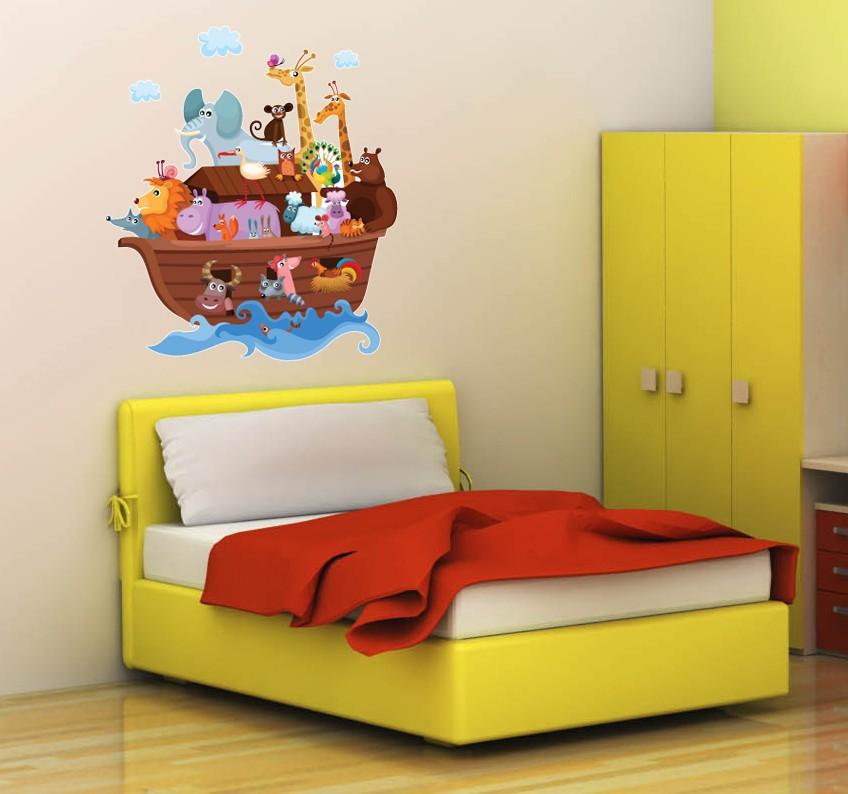 Wall Art Sticker Full Colour Childrens Cute Noah 39 S Ark Bedroom Playroom Ebay
