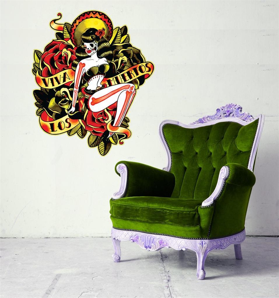 Wall art sticker full colour day of the dead 50 39 s 50s home decor uk