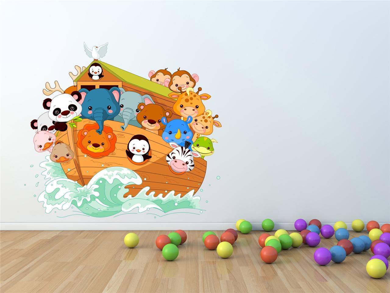 Wall Art Sticker Decal Full Colour Noahs Ark Animal Childrens Bedroom Kids Zoo Ebay