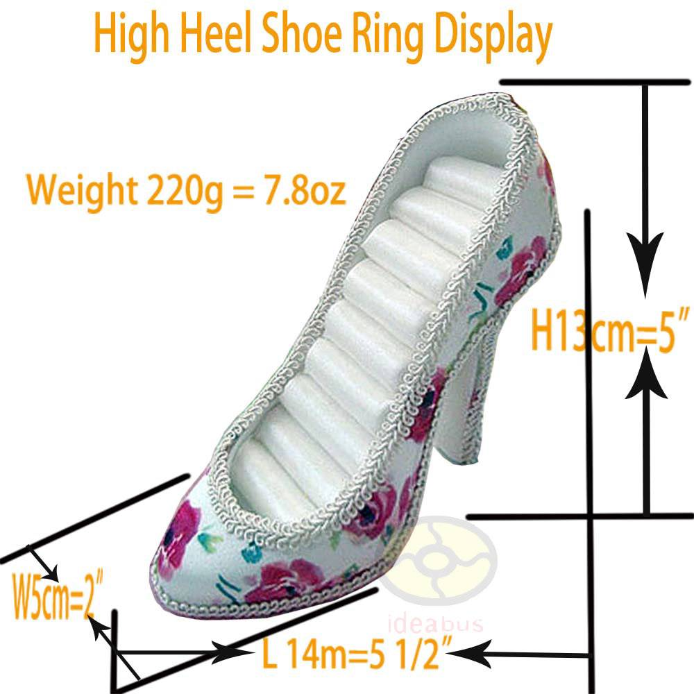 white hotpink blossom high heel shoe jewelry ring holder