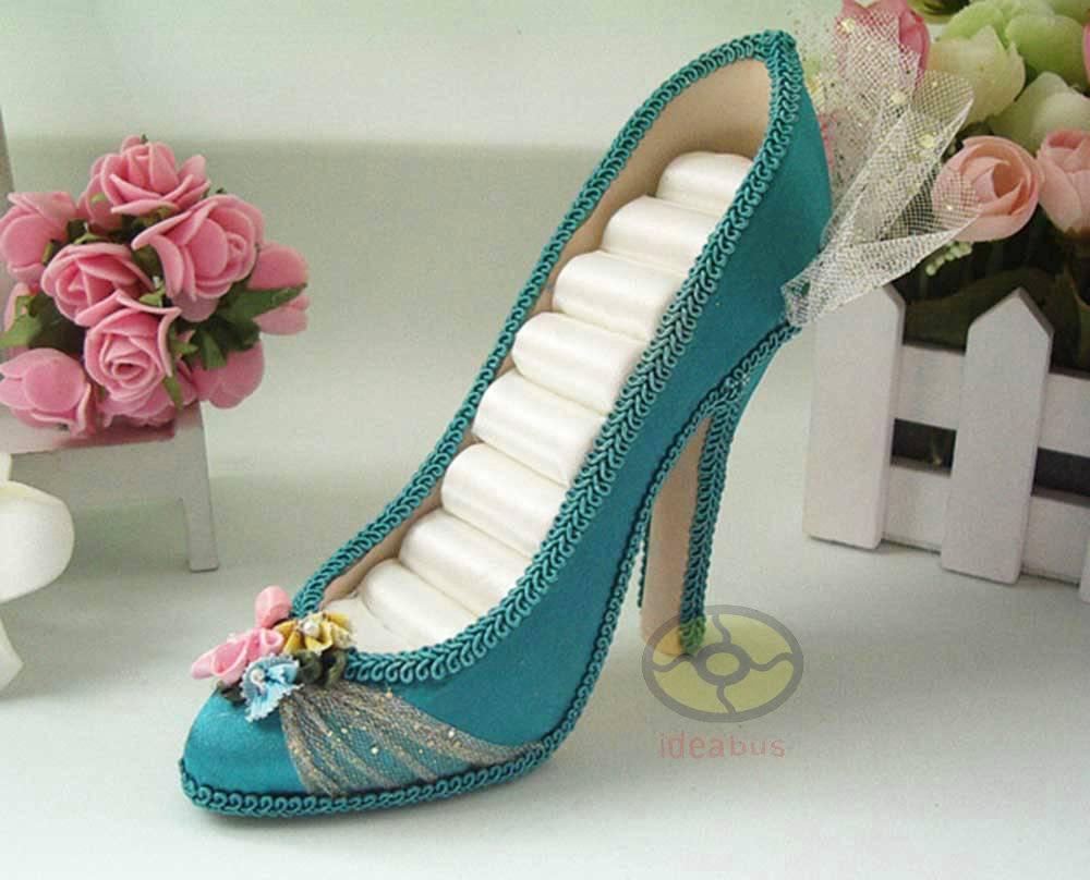 turquoise high heel shoe jewelry ring holder display