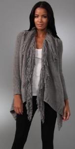Haute Hippie Loopy Fringe Knit Shawl Collar Wool Cardigan Sweater Grey