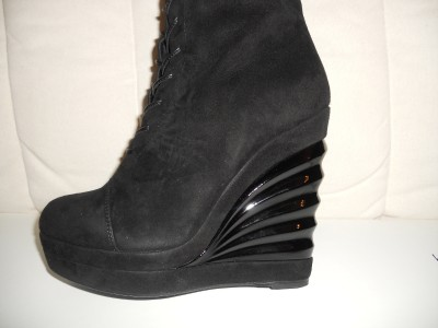 ysl yves laurent robyn knee high suede lace up wedge